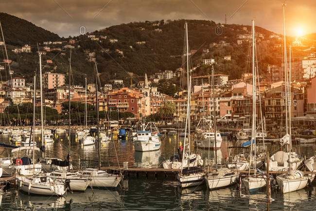Lerici, Liguria, Italy - December 2, 2017: View of yachts and waterfront at sunset, Lerici, Liguria, Italy