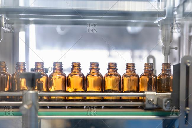 Bottles in pharmaceutical factory
