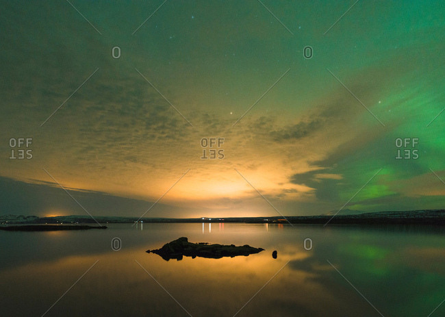 Sunset and aurora borealis, Thingvellir, Iceland