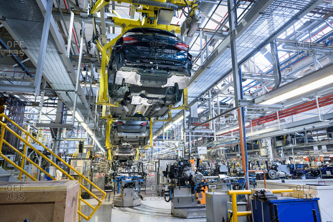 Car engines and body in car factory