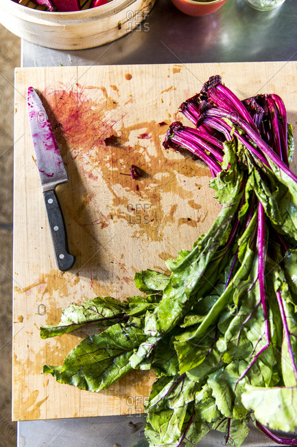 Fresh cut beetroot greens on cutting board