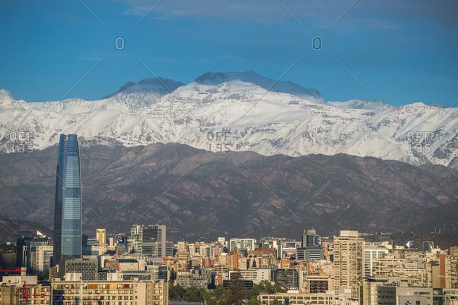 Santiago, Chile - 27/12/2016: Santiago de Chile in the evening