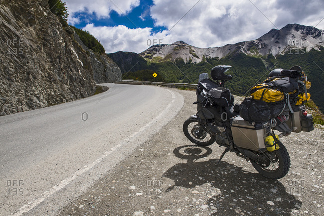 "Motorbike parked beside ""Ruta 3"" in Tierra del Fuego, Argentina"