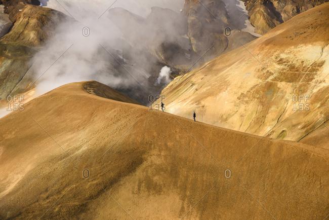 Hikers on mountain, Kerlingarfjoll, Iceland