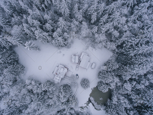 Rural snow covered landscape, overhead view