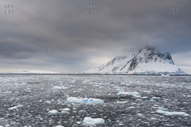 Ocean and grey sky, Lemaire channel, Antarctica