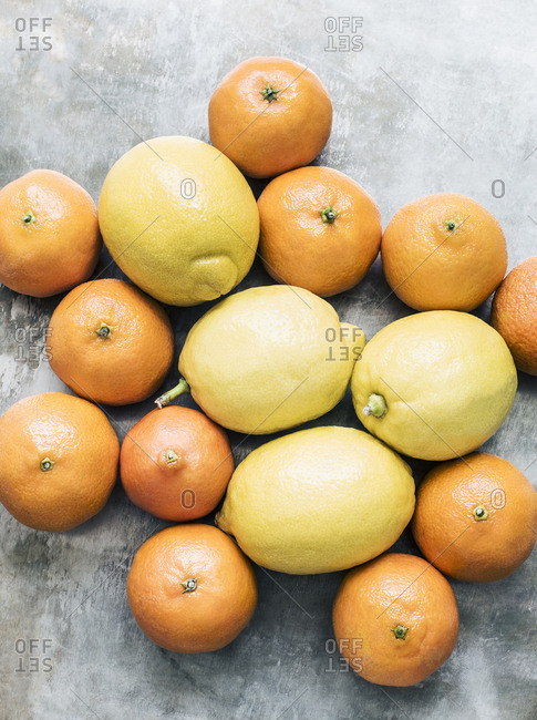 Studio shot, overhead view of oranges and lemons