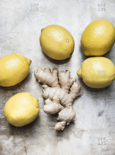 Studio shot, overhead view of root ginger and lemons