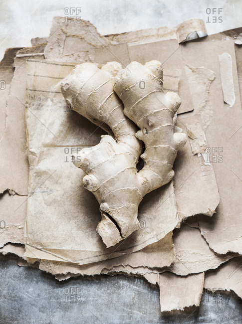 Studio shot, overhead view of root ginger on torn cardboard