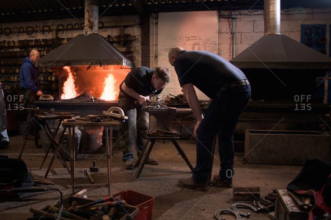Farriers forging horseshoe on anvil