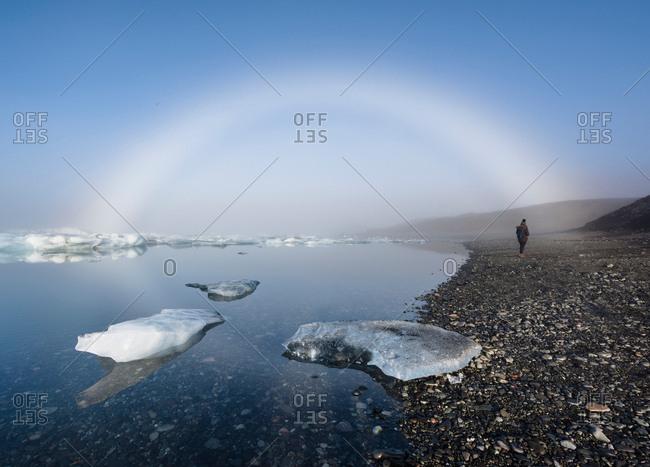 Fog bow over glacial lagoon, Jokulsarlon, Iceland