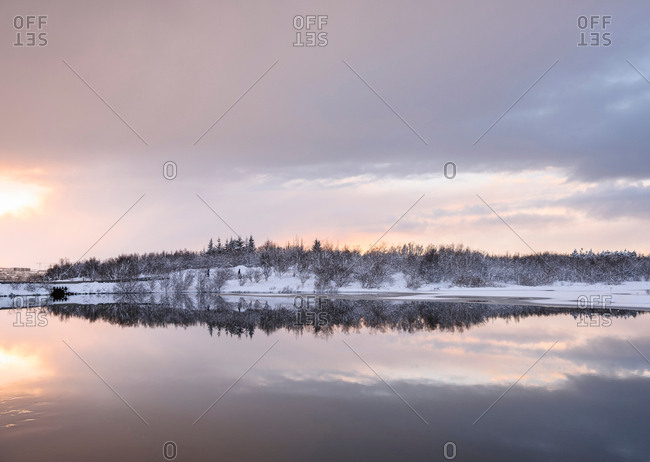 Snow covered landscape view at Lake Ellidavatn, Iceland