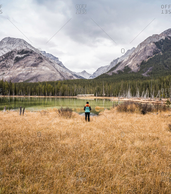 Woman standing, looking at view, rear view, Kananaskis Country; Bow Valley Provincial Park, Kananaskis, Alberta, Canada