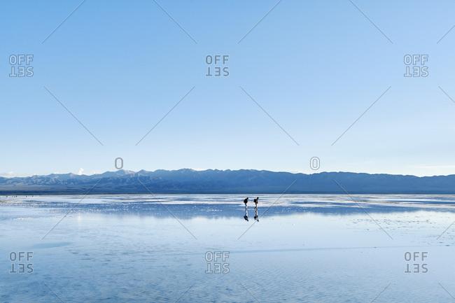 Salt miners, Chaka Salt Lake, Haixi, Qinghai Province, China