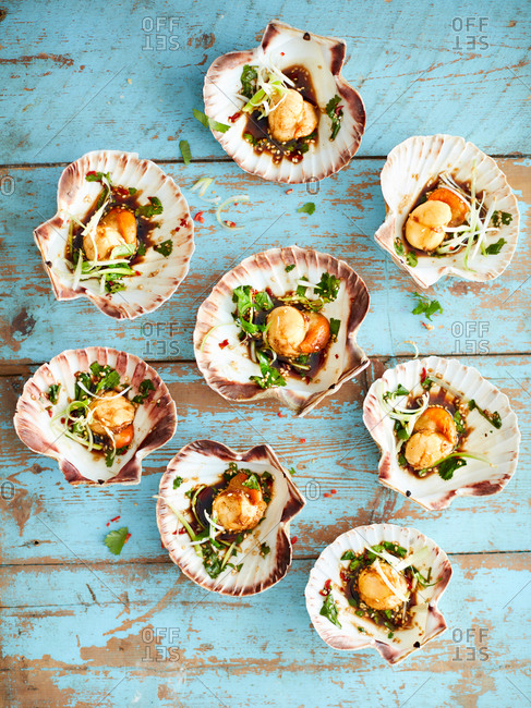 Scallops with shells starter