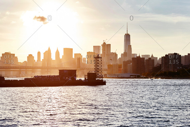 View of East river and One World Trade Centre, New York City, USA
