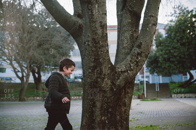 Young boy on a walk