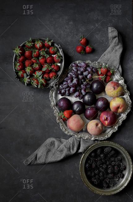 Fruit on a silver platter