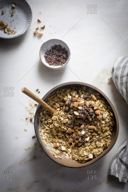 Preparation of granola mixture in a Mable backdrop on top view