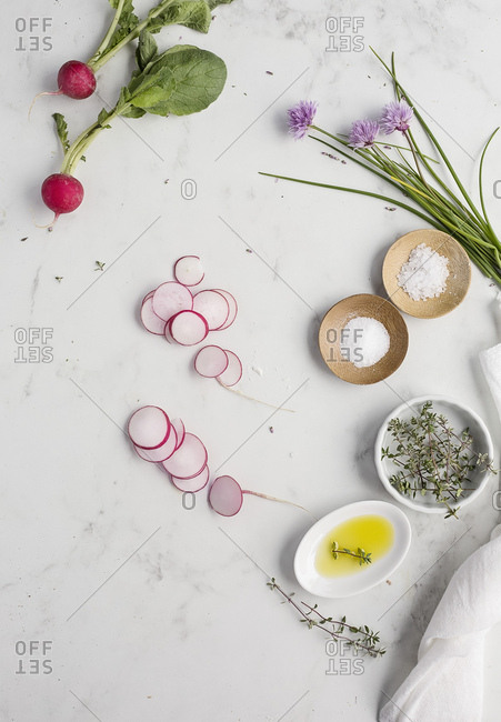 Ingredients on marble table