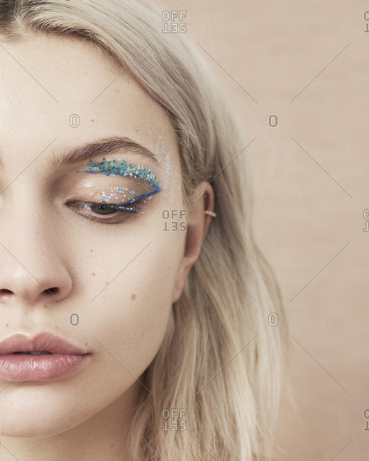 April 22, 2014: Close-up of woman with glitter eye makeup