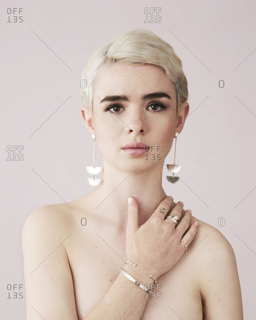 June 15, 2014: Fashion model wearing silver jewelry