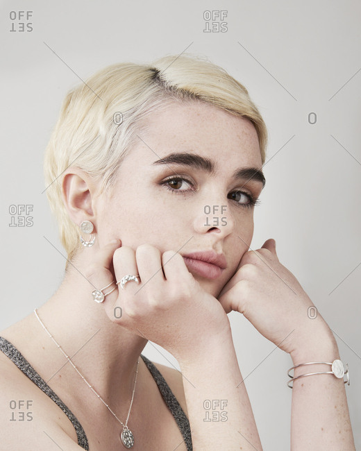 June 15, 2014: Young woman modeling hammered silver jewelry