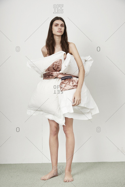 March 16, 2014: Model with pillows tied around her