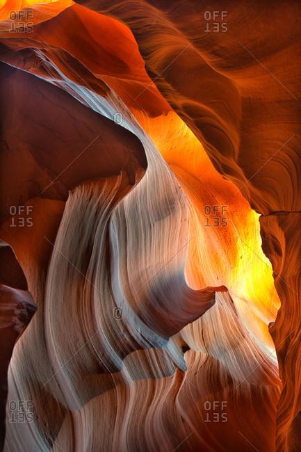 Light shining through an opening in Antelope Canyon, Arizona
