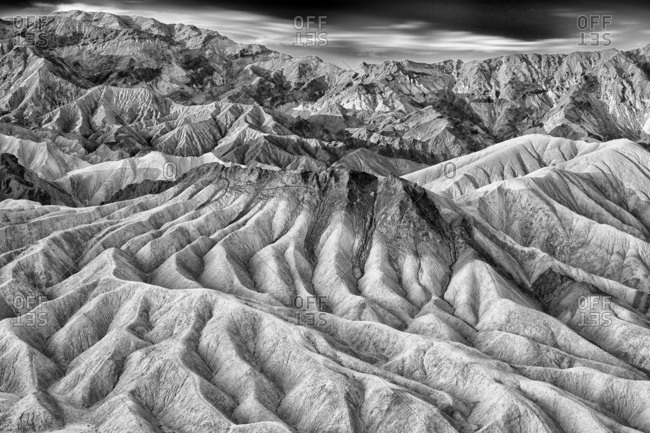 Deep ridges of sand in the desert at Death Valley National Park