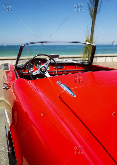 vintage red car, France