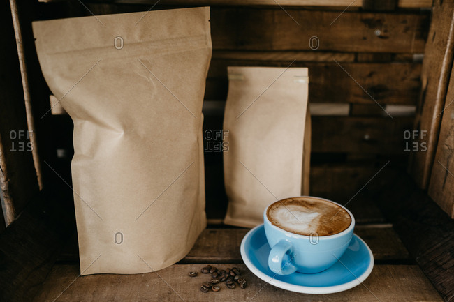 Latte with paper bags