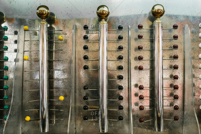 Horizontal shot of the ball shaped targets in a shooting range.