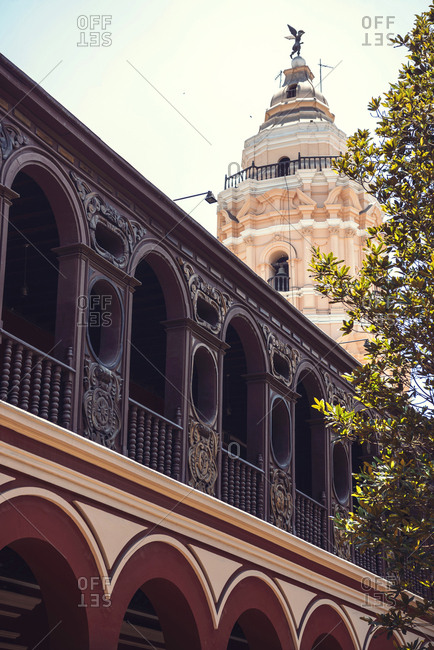 LIMA, PERU - DECEMBER 26, 2016: Vertical outdoors shot of a tower of Convent of Santo Domingo in Lima, Peru.