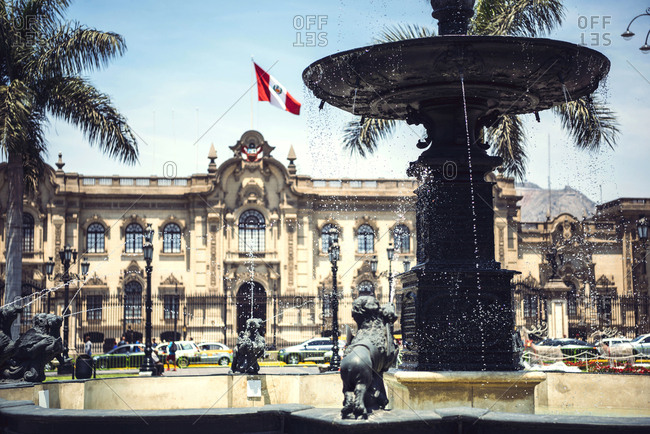 LIMA, PERU - DECEMBER 26, 2016: Horizontal outdoors shot of a fountain placed at the Government Palace in Lima, Peru.