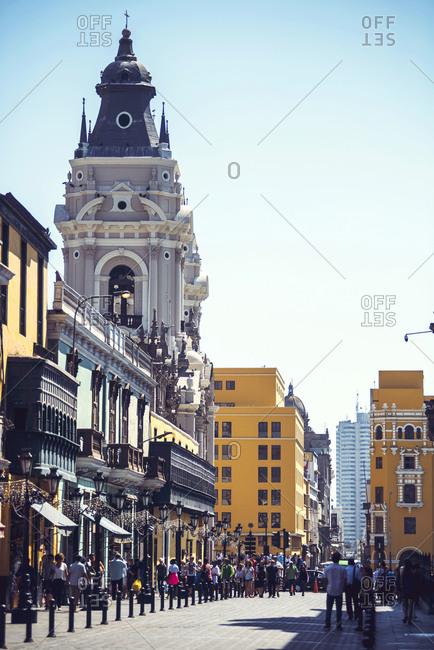 LIMA, PERU - DECEMBER 26, 2016: Main Square and Cathedral of Lima, Peru.