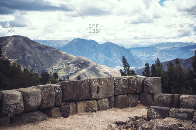 Picturesque view to the mountains from the old Inca temple ruins in Vilcashuaman village, Ayacucho, Peru.