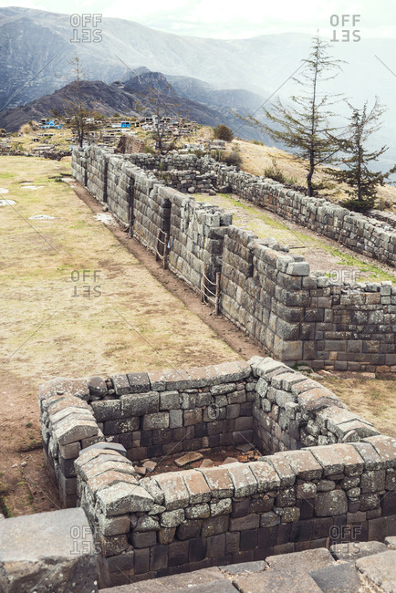 Vertical outdoors shot of historic Inca temple ruins in Vilcashuaman village,?Ayacucho, Peru.