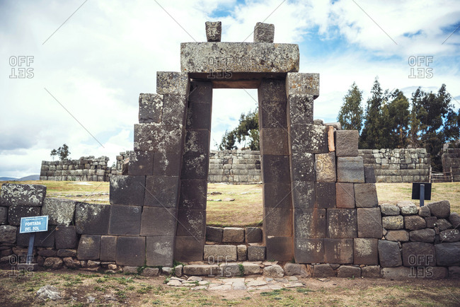 Horizontal outdoors shot of a doorway in the ruins of old Inca temple in Vilcashuaman village,?Ayacucho, Peru.
