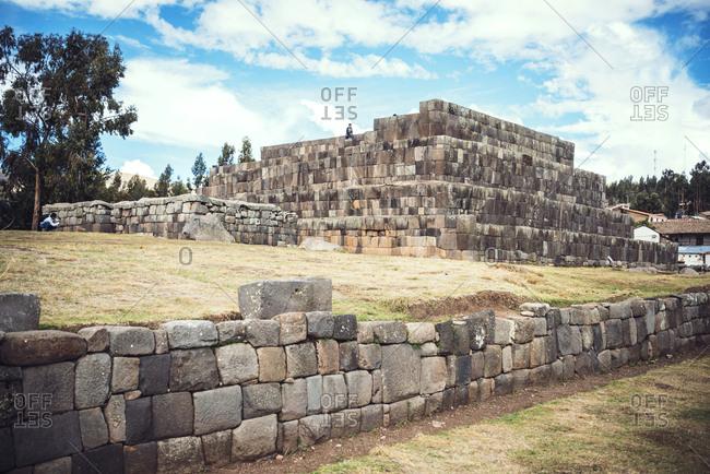 Historic Inca pyramidal temple in Vilcashuaman village, Ayacucho, Peru.