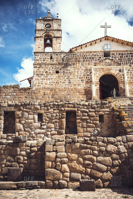 Antique church placed on ancient Inca temple ruins in the village Vilcashuaman, Ayacucho, Peru.