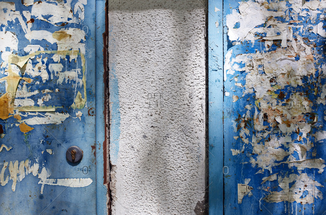 Metal doors with old advertising