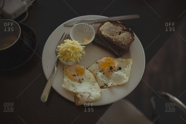 Breakfast served on the table in cafe�