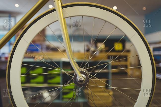 Close up vintage bicycle wheel at workshop