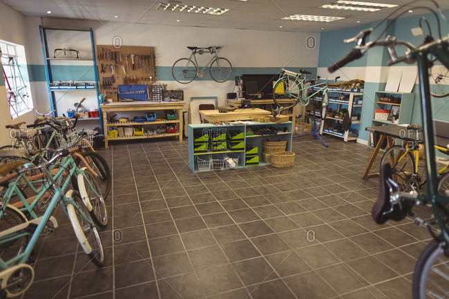 bicycle repair shop stock photos - OFFSET