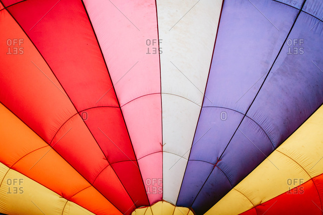 Colorful inside of a hot air balloon
