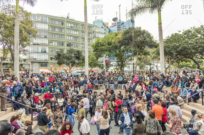 Lima, Peru - August 6, 2016: Crowd gathered at an outdoor amphitheater for a public dance in Lima, Peru