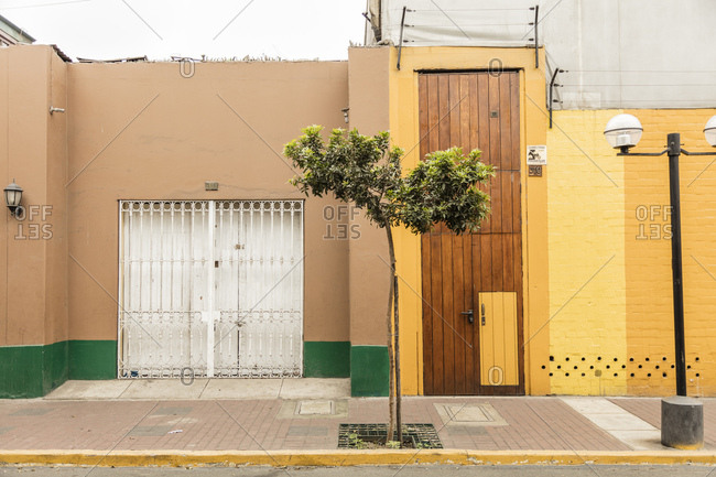 Lima, Peru - August 7, 2016: Tree on a sidewalk between colorful homes in Lima, Peru