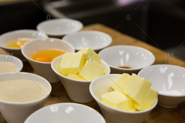 Baking ingredients ready in individual bowls