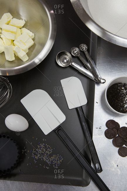 Pastry ingredients on tray